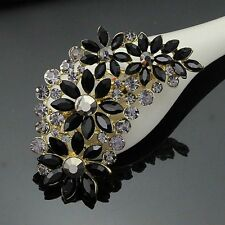 Elegant Large Black Crystal Flower Bridal Brooch Pin Diamante Wedding Party Gift