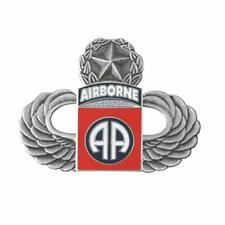 Us Army Silver Master Paratrooper Wings with 82nd Airborne Division Lapel Pin