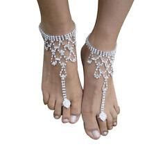 Bridal Crystal Rhinestone Barefoot Sandals Foot Toe Ring Ankle Bracelet Jewelry