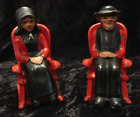 Vintage 1950's Cast Iron Amish Couple in Rocking Chairs Salt & Pepper Shakers
