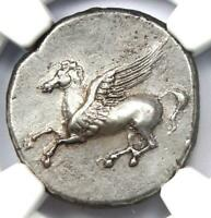 Ancient Sicily, Syracuse AR Stater Coin (344-317 BC) Pegasus & Athena - NGC AU