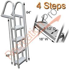 PONTOON BOAT LADDER 4 STEP REMOVABLE BOARDING ALUMINUM HEAVY DUTY AL-A4
