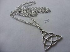 "A Three Triquetra Knot Tibetan Silver Charm Pendant, Long ( 30"" ) Chain Necklace"