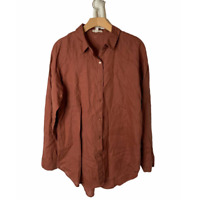 Eileen Fisher Brown Organic Linen Button-Down Long Sleeve Shirt Medium READ