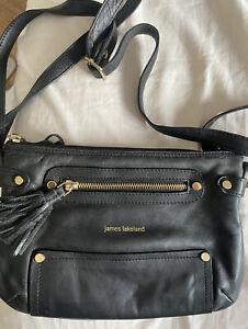 James Lakeland Super Soft Black Leather Across Body Shoulder Bag