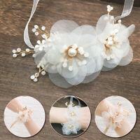 Women Wedding Wrist Corsage Bride Bridesmaid Hand Flower & Ribbon Wedding Decor