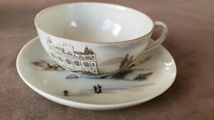 Antique 1920  Hand painted Bone China Cup and Saucer. Made in Japan.