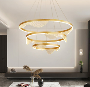 Modern Wave Aluminum Chandelier Cloud Art Home Living Dining Room ring Light