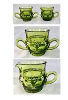 Vintage Indiana Glass KINGS CROWN Thumbprint GREEN Sugar and Creamer Set