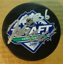 Autographed JACK HUGHES Signed 2019 NHL DRAFT Hockey Puck New Jersey Devils
