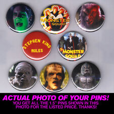 """MONSTER SQUAD - 1.5"""" PINS / BUTTONS (universal monsters horror movie poster)"""