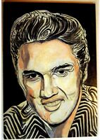 ELVIS PRESLEY Original SIGNED OIL PAINTING Poster NAIVE ART Rock MOVIE The KING