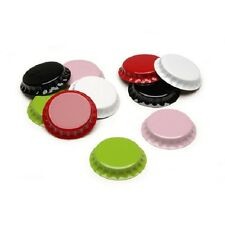 50 pc CHROME Bottle Caps in 5 Colors 1 inch Red Black White Pink Green Crafts