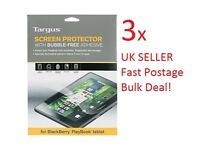 """3xTargus Blackberry Playbook LCD Screen Protector Bubble Free adhesive 7"""" Tablet"""