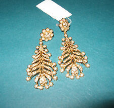 J.Crew New With Tag Feather Wisp Earrings Color:Gold/Diamond Onesize