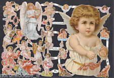 MUSICAL ANGELS CHERUB HARP BUSTS GIRL CELESTIAL ART CUT PAPER SCRAP EF GERMAN