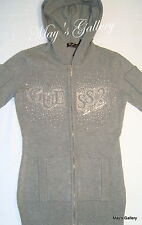 Guess Jeans Sweater T shirt  sweat  Top Blouse Zip Front Cardigan  Grey  NWT M