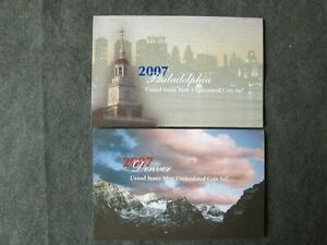2007 UNITED STATES MINT UNCIRCULATED COIN SET LOT OF 2 PHILADELPHIA & DENVER FAC