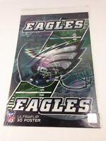 "NFL Ultraflip Holographic 3D Double Image Poster Philadelphia EAGLES 17""x11"" New"