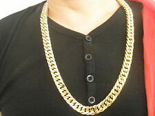"15mm 30"" 18K Gold Plated Bling Thick Necklace Men's Fashion Style Birthday Gift"