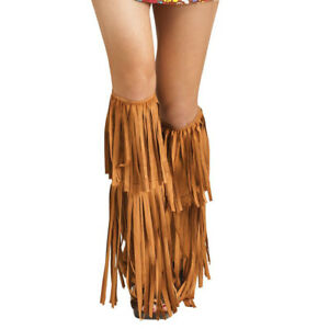 Hippie Brown Fringe Boot Covers Womens Adult Costume Accessory NEW 60s