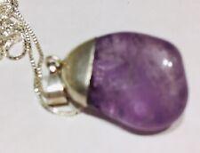 Casa Amethyst Quartz Pendant Necklace Beautiful Sterling Silver Blessed Rare
