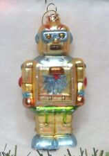 New with Tags Seasons of Cannon Falls Robot Glass Ornament Blue/Gold Shiney