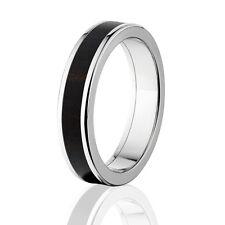 African Blackwood in Titanium Ring, Exotic Hard Wood Wedding Band , Wood rings