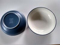 "Set of 2 Noritake Colorwave Blue 7"" Coupe Cereal Bowls Stoneware White Interior"
