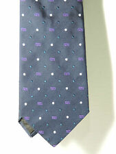 Versace Navy Silk Necktie with Blue and White dots and Purple Rectangle designs