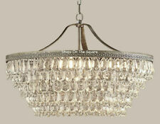 """NEW Pottery Barn Clarissa Crystal Drop 28"""" Large Round Chandelier~Antique Silver"""