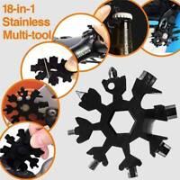18 In 1 Multi Tool Stainless Tool Snowflake Shape Key Chain Screwdriver Black US