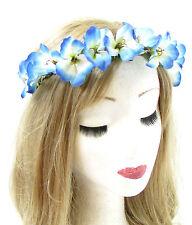 Bleu Blanche Fleur D'hibiscus Bandeau À Cheveux Couronne Festival Guirlande