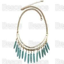 LARGE VEINED TURQUOISE DROPS statement COLLAR NECKLACE gold plated GIFT BOX UK