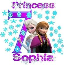 Personalized FROZEN Princess Birthday Shirt Anna & Elsa SnowFlake Print 398