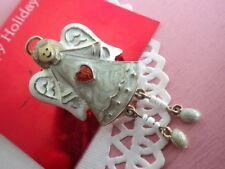 Engel mit Herz - Vintage Brosche Weihnachten Herzen silberfarben Geschenk