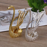 Coffee utensils tableware set stainless steel swan spoon holder dinnerware kit
