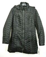 Via Spiga Womens Front Zip Long Sleeve Zig-Zag Quilted Detachable Hood Jacket