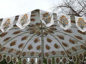 Indian Sun Shade Beach Patio Parasols Hand Block Yellow Floral Cotton Umbrella