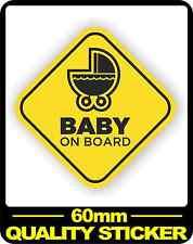CAR VEHICLE BABY ON BOARD SIGN SAFETY STICKER WARNING DECAL BNIP PRAM 60MM