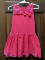 Penny M Toddler Girl Size 3T Sleeveless Cotton Ruffle Lace Hem Orange Dress