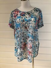 FOREVER NEW Sky Blue Floral Semi Sheer Short Sleeved Top - Size 12