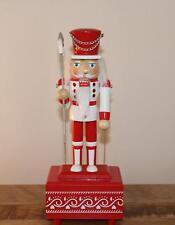 Décoration de Noël - 30cms Bois Boîte à Musique Casse-Noix Rouge Blanc Man W