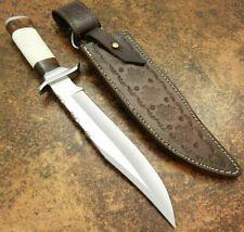 "Beautiful Custom Handmade D2 Steel Bowie Knife"" Camel Bone & Natural Wood Handle"