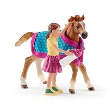 SCHLEICH Fohlen Pferd mit Decke und Mädchen Trinkflasche 42361