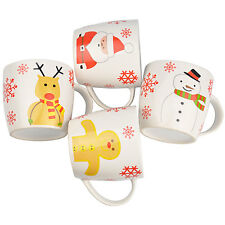 Set of 4 Novelty Christmas Mug Set - Father Xmas, Snowman, Gingerbread Man, Deer