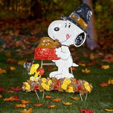 Thanksgiving 2108 Snoopy & Woodstock Hammered Metal Weather Proof Yard Display