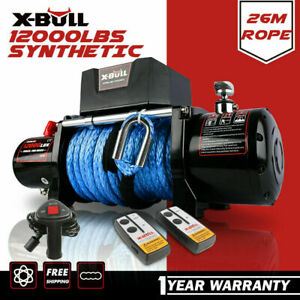 X-BULL Electric Winch 12V 12000LBS Synthetic Rope 26M Wireless Remote 4WD 4x4