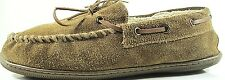 Eddie Bauer Loafer Slippers Men Suede Leather Moccasin Size 9 Brown Faux Fur