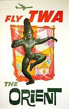 ORIGINAL Vintage Travel Poster TWA Trans World Airlines Orient